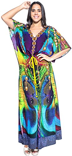 Womens Likre Peacock Evening Party DESIGNER Dress Beach Long Caftan Green L- 4XL Valentines Day Gifts 2017