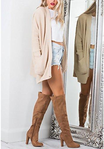 Con Cappotto Women Lunga Casual Maglia Puro Lungo Invernale Outerwear Coat Apricot Autunno Manica Vintage Giovane Tasca Cardigan A Aperto Colore Donna Giacche Grazioso Elegante Moda Semplice T8Sv1wWqYx