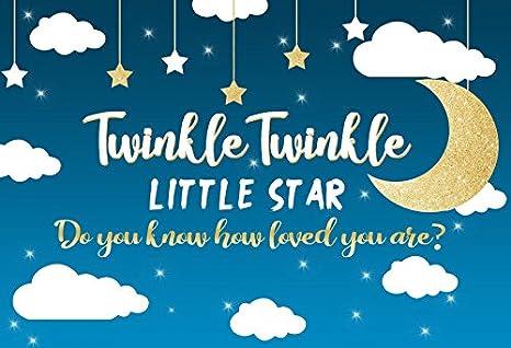 Yeele 5x4ft Vinyl Background for Photography Twinke Twinkle Little Star Moon Black Photo Backdrop Baby Birthday Decoration Banner Girl Boy Kid Booth Photographic Studio Props