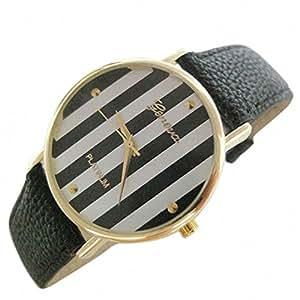 PromiseU Fashion Base Hot New Stripes Big Dial Light Green Leather Band Women Lady Watch