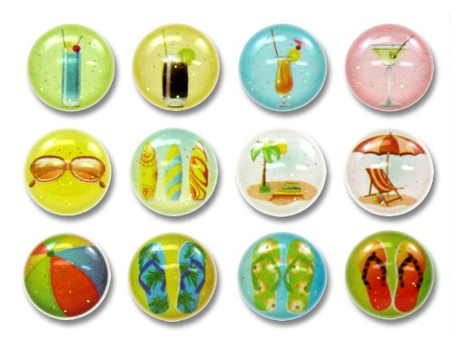 Summer Chillax Relax Flip Flops Sandals Fruit Cocktail Drinks Beach Ball Sunglasses Surfboards 12 Pieces Home Button Stickers for iPhone 5 4/4s 3GS 3G, iPad 2, iPad Mini, iPod - Sunglasses Relax