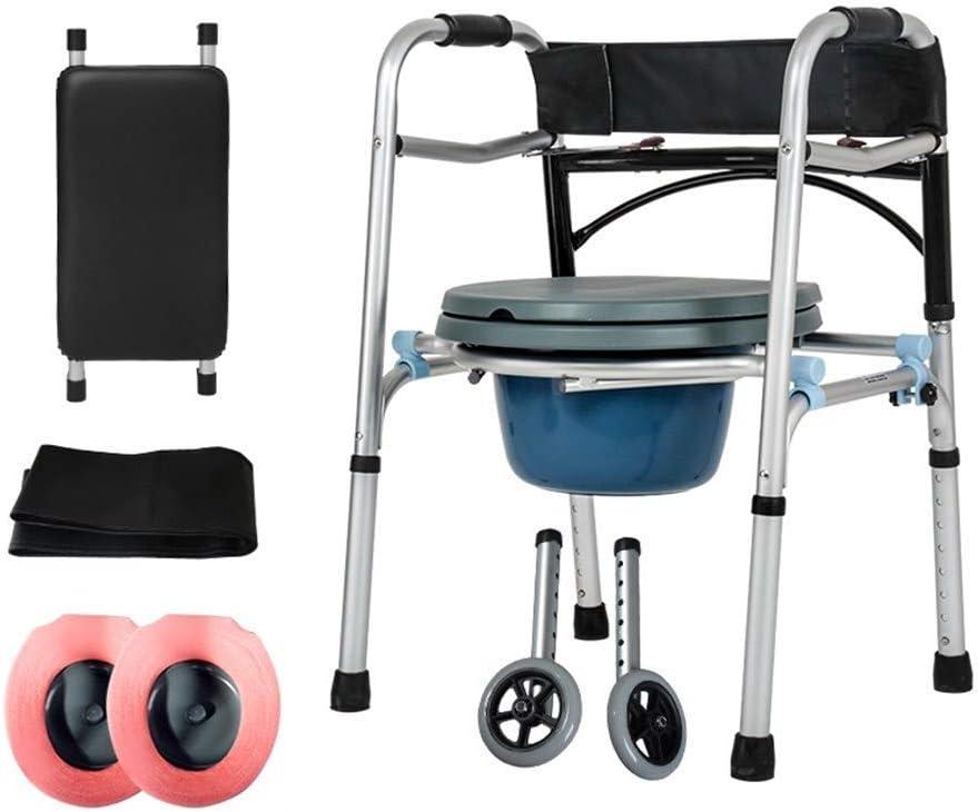 SMX Andador Plegable Compacto, con Ruedas for Personas Mayores [Accesorios incluidos] Andador de Aluminio Rehabilitación for discapacitados (Soporte + Cojín del Asiento)