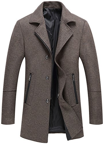 chouyatou Men's Classic Notched Collar Button-Zipper Front Wool Blend Midi Pea Coats (Khaki, Large) (Peacoat Notched Wool Collar)