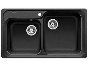 BLANCO CLASSIC 8 - Fregadero (Negro, 2 bowls, 340 x 355 mm, 20 cm, 380 x 420 mm, 20 cm)