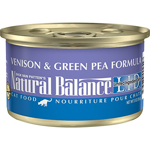 Natural Balance L.I.D. Limited Ingredient Diets Canned Wet Cat Food, Venison & Green Pea Formula, 3-Ounce Can (Pack Of 24)
