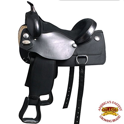 HILASON WESTERN BLACK CORDURA FLEX-TREE TRAIL PLEASURE HORSE RIDING SADDLE