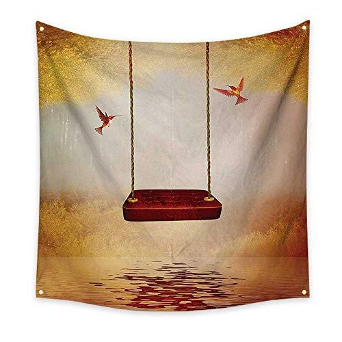 ParadiseDecor HummingbirdsDormitory tapestryRed Hammock and Hummingbird in a Peaceful Lake Fantasy Fairytale SceneArt Tapestry 70W x 70L InchOrange -