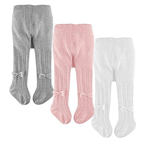 slaixiu Cotton Baby Girl Tights Cable Knit Seamless Toddler Leggings Pantyhose Pants Stockings 3-Pack(White&Pink&Gray_BowTie_0-6 M)