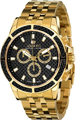 Gold Chronograph Swiss - Louis XVI Men's-Watch Majesté l'acier l'or Noir Carbone Swiss Made Chronograph Analog Quartz Stainless Steel Gold 480