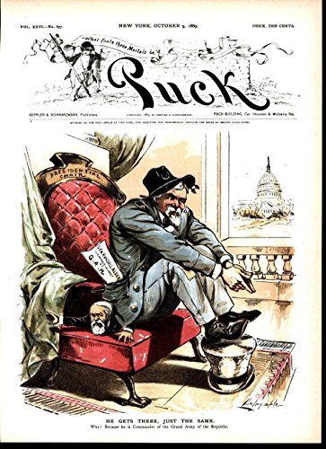 Gar Civil War - Civil War Veteran Control Harrison GAR 1889 antique color lithograph print