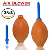 Rubber Pump Dust Blower, SNDIA Air Blower Dust Remover for Digital SLR Camera, Lens, Watch, Keyboard, Cell Phone, Computer Laptop PC and Screen - Orange (3 PACK)