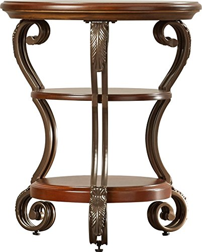 Round and Classic Charm End Table Made of Manmade Wood and Metal in Medium Brown Color with 2 Lower Shelves Oil Rubbed Bronze Tone Legs