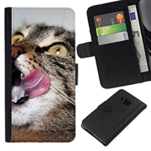 BearCase / Cuero de la tarjeta la carpeta del tirón Smartphone Slots Protección Holder /// HTC One M9 /// Gato Inglés Americano de Pelo Corto Wirehair