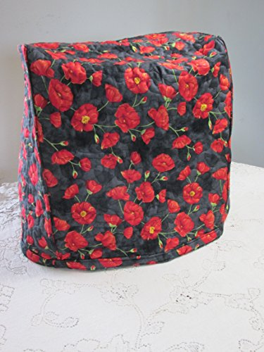 Kitchen Mixer Cover - Red OR Cream Poppy Design with Tan on Black Vines Reverse Side - Reversible Quilted KitchenAid Appliance Dust Cover - Size and Pocket Options