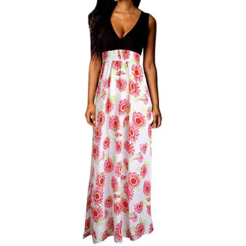 Summer Beach Maxi Dresses for Women,Chaofanjiancai Ladies Floral Boho Sundresses V-Neck Sexy Cocktail Party Long Dress ()