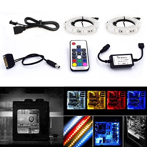 Computer Magnetic LED Strip Kit – Super Strong Magnet Easy to be Fixed on You PC Case – High Brightness 2pcs 15inch RGB LED Strip Light with PU Tubes Using RF Remote for Desktop PC Computer Mid Tower