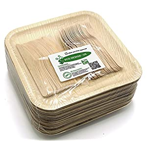 """Holiday Party Dinnerware Eco Set of 75 Disposable: Large 10"""" Square Palm Leaf Plates (25), Wood Forks(25) & Knives (25) - Compostable"""