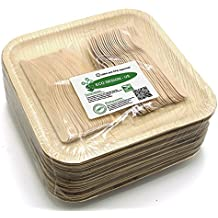 "Holiday Party Dinnerware Eco Set of 75 Disposable: Large 10"" Square Palm Leaf Plates (25), Wood Forks(25) & Knives (25) - Compostable"
