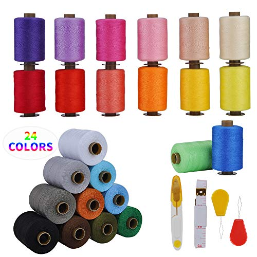 Blibly Sewing Thread for Sewing Machine 1000 Yards Per Polyester Sewing Thread Kits for Hand and Sewing Machine 24 Colors
