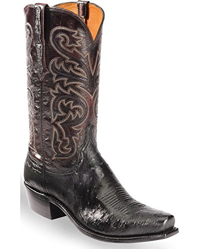 Lucchese Men's Handmade Nathan Smooth Ostrich Western Boot Snip Toe Black 9 (Smooth Ostrich Boots)