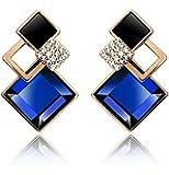 Crunchy Fashion Blue Metal Dangle & Drop Square Earring For Girls