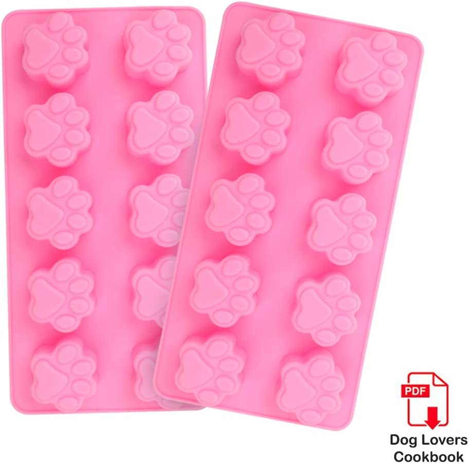 Comfecto 2 Pack Dog Treat Molds 10-Cavity, Reusable Bakeware for Baking Puppy Treats Cookies Chocolate Candy for Microwave Dishwasher, Food Grade Silicone Ice Cube Trays Dog Paw Mold