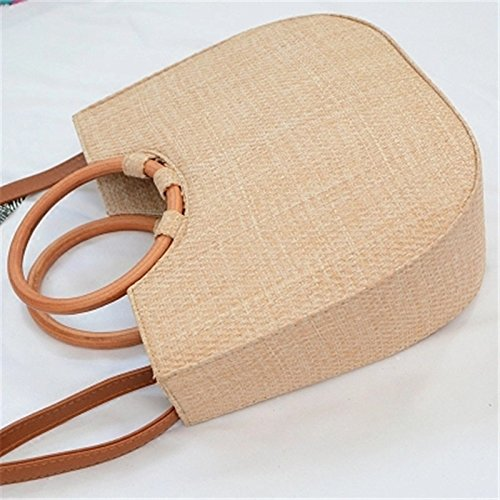 Summer Bag Female Round Bag Wicker Meaeo Wooden Straw Tote Bag Travel Bag Ladies Woman Beach Bags Handle Vacation qwtUpzw