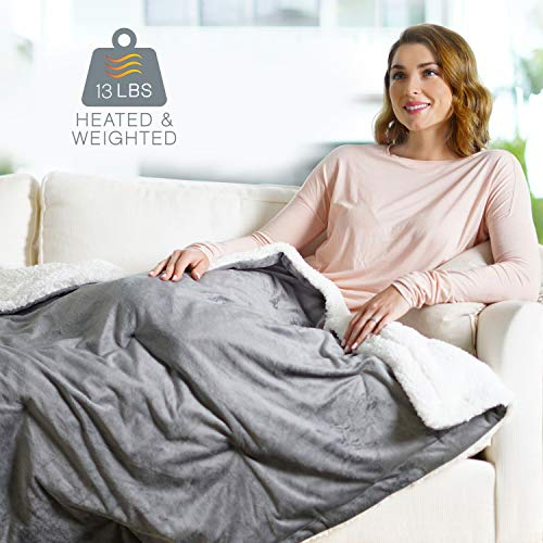 "Pure Enrichment WeightedWarmth - 2-in-1 Original Heated Weighted Blanket (50"" x 60"") 13lbs, 4 Heat Settings, BPA-Free Non-Toxic Glass Beads, Soft Micromink and Sherpa, with Storage Bag"