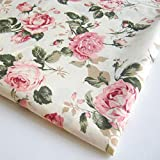 Flower Rose in Sweet Vintage Pink Red Roses Bouquet Wedding, Bunch on Off White Fabric 36 by 36-Inch Wide (1 Yard) (FBA-CT146)
