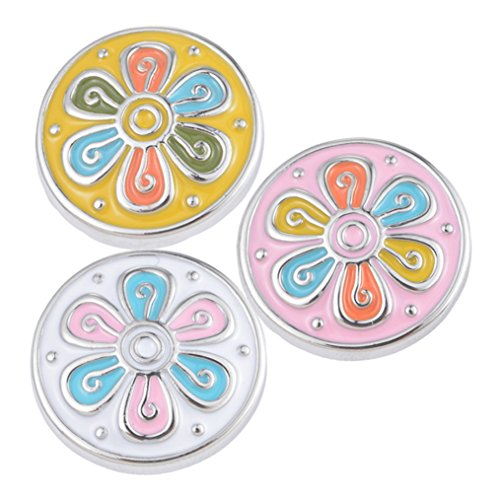 Souarts Mixed Oil Flower Round Snap Button Jewelry fit Bracelet Pack of 3pcs (Press Charm)