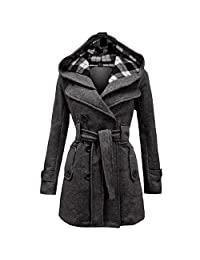 Women's Winter Double Breasted Checked Hood Wool Overcoat