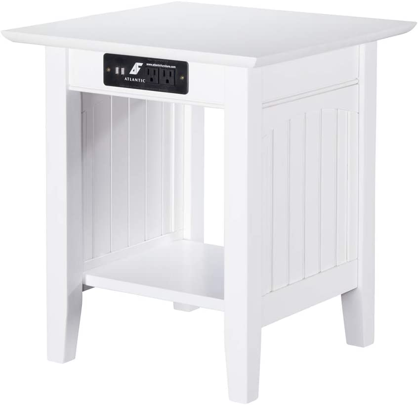 Atlantic Furniture Nantucket End Table with Charging Station in Driftwood White/1