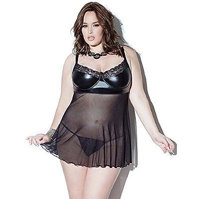 Vivilover Women's Sexy Mesh Babydoll Leather Lingerie Plus Size