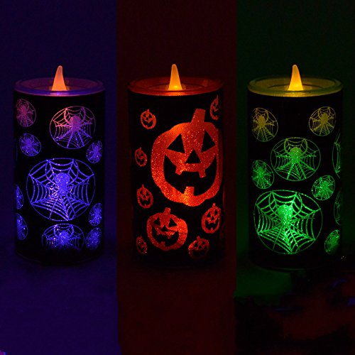 [IREALIST Halloween LED Candles Wavy Flickring Flameless Candle Tea Lights Halloween Pattern Battery Operated LED Candles Lights, Set of] (Halloween Candles)