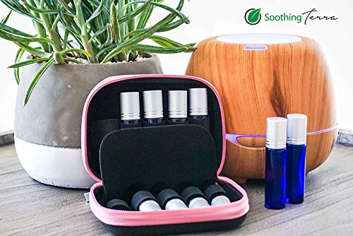 Soothing Terra Essential Oil Carrying Case Perfect for Roller Bottles 5ml - 10ml - Hard Shell Exterior and Foam Pad to Keep Your Oils Safe (Black/Pink)