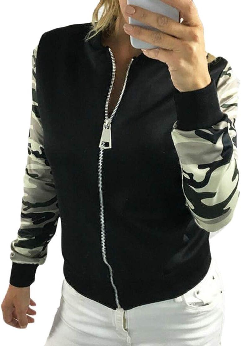 ChengZhong Femmes Slim Fit Zipper Baseball Bomber Camouflage Surpiq/ûres Casual Veste