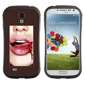 Suave TPU GEL Carcasa Funda Silicona Blando Estuche Caso de protección (para) Samsung Galaxy S4 I9500 / CECELL Phone case / / Blood Lips Tongue Sexy White Teeth /