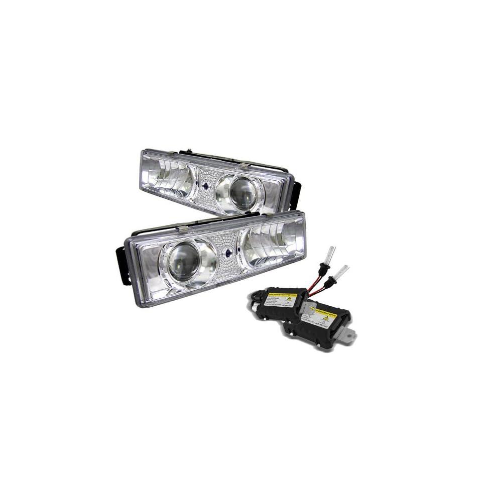 Carpart4u 6000K Xenon HID Performance Headlights Package for Chevy C/K Series 1500/2500/3500 / Chevy Tahoe / GMC C/K Series 1500/2500/3500 / GMC Jimmy / GMC Yukon ( Replaceable City Lights ) Chrome Projector Headlights Automotive