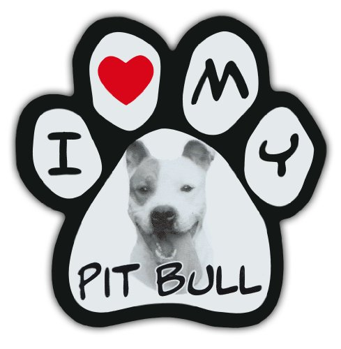 Picture Paws | Dog Paw Shaped Magnets: I LOVE MY PIT BULL (PITBULL TERRIER)