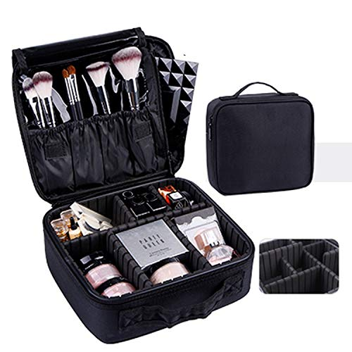 New 2019 Professional Empty Makeup Organizer Bolso Mujer Cosmetic Case Travel Large Capacity Storage Bag Suitcases,mini black 2layer