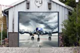 Airplane Banner for Door Single Garage Door Full Color Covers 3D Effect Print Decor Garage PlaneBillboard Mural Made in the USA Size 83 x 96 inches DAV158