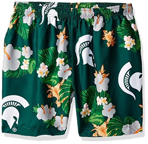 Michigan State Spartans Logo - NCAA Michigan State Spartans Mens Team Logo Floral Hawaiian Swim Suit TrunksTeam Logo Floral Hawaiian Swim Suit Trunks, Team Color, Large