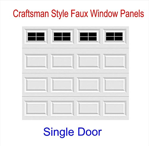 Craftsman Style Vinyl Garage Door Decal Kit - Faux Windows (Gloss Black)