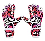 Coodoo Goalie Gloves with Fingersaves to Give Splendid Protection to Prevent Injuries, 3.5mm Strong Grip German Latex Palm, Double Rip-Tab Strap, Size 4-7 Fit for Kids, Youth (Pink Leopard, 5)