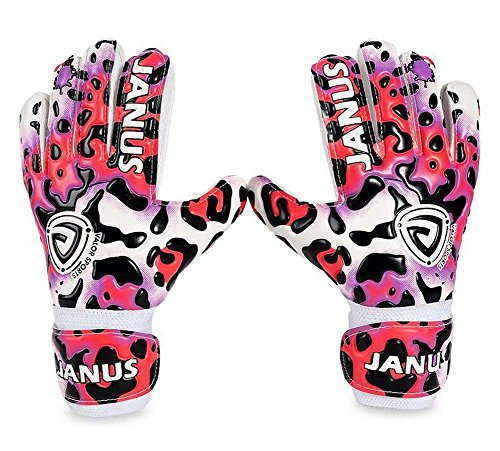 Coodoo Goalie Gloves with Fingersaves to Give Splendid Protection to Prevent Injuries, 3.5mm Germany Supersoft Latex Palm, Double Rip-Tab Strap, Size 4-7 Fit for Kids, Youth (Pink Leopard, 4)