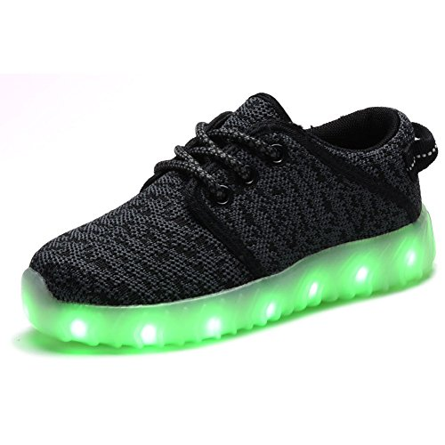 COODO CD2009 Boy's & Girl's LED Shoes USB Charging Light up Sneakers DARK GREY-2 (Mouse Grey Rubber)