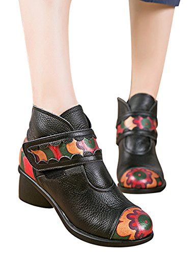 Booties High Leather Ankle Style Boots Retro Ankle Zipper Black Block Casual 7 Zoulee Women's Heel qURCEE