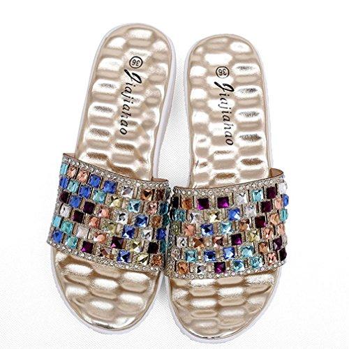 AMA(TM) Women Diamond High-heeled Sandals Increased Slippers Beach Shoes Gold Ko3cxERXa