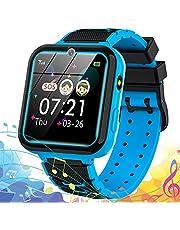 Smartwatch Kind Kinder Horloge Kind Smartwatch Kinderen Smartwatch Voor Kinderen Telefoon met Touchscreen MP3-muziek SOS-oproep Game Camera Zaklamp Alarm Video Rekenmachine Horlogegift 【Inclusief SD-kaart van 1 GB】 (blauw)