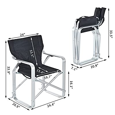 Folding Camping Chair Picnic Fishing Padded Seat Aluminum Oxford Deck Beach
